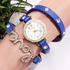 Blue wrapped watch