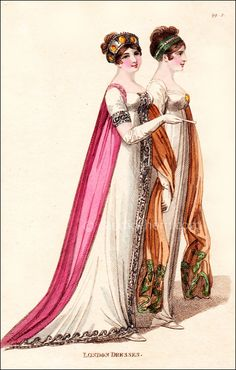 """Full Dresses, April 1806;""""Fig. 1–A loose robe of undressed crape over a dress of white satin, or sarsnet, embroidered all round with silver; the sleeves quite plain and embroidered to correspond with the dress. """"Fig. 2–A round dress of fine muslin over white sarsnet. Broad lace let in down the front and round the bottom. The bosom quite plain, trimmed with a quilling of lace, and ornamented with a medallion or brooch. A long silk shawl, the ends embroidered in colours."""