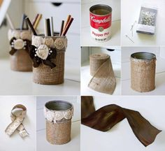 Burlap Pencil Holder-15 DIY Simple and Genius Ideas that can Inspire You