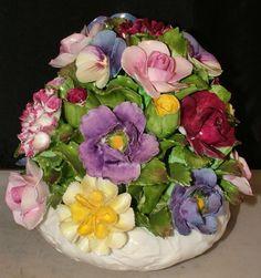 """LARGE 6.5"""" Aynsley Fine Bone China FLOWER BASKET VASE Hand Modelled GORGEOUS!"""