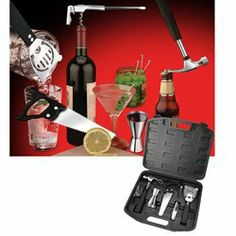 "Bar Tools by Unknown. $21.99. Fix what ails ya with these FUN Bar Tools! This fun ""tool box"" of Bar Tools includes all the barkeeping essentials: bottle opener, 1/4 oz. & 3/4 oz. jigger, lemon / lime saw, corkscrew, cocktail strainer and 4 olive picks. The fun part? They're all in the shape of tools! Includes a ""hammer"" bottle opener, ""contractor's saw"" lemon / lime slicer and more. Each is made of durable stainless steel. Everything fits nicely into 13 x 11 x 2 1/2"" pla..."