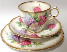 Royal Stafford Carousel British Vintage China tea cup saucer tea plate trio pink floral with gold trim