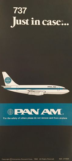Pan Am 737 Safety Card Vintage Luggage, Vintage Travel Posters, Tourism Poster, Pan Am, Airplane Art, Skateboard Design, Vintage Graphic Design, Retro Illustration, Worlds Of Fun