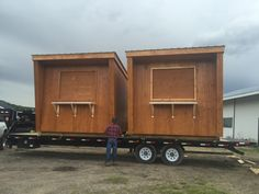 Custom designed outdoor kiosk being delivered to Whitby Ontario. They are custom designed and very modern. Great for outdoor information booth, food stand, parking lot, beach hut to name a few. Will last a lifetime. Valet Parking, Parking Lot, Custom Sheds, Small Cottages, Food Stands, Kiosk, Php, Ontario, Custom Design