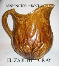 Antique Bennington Rockingham Pottery Pitcher - Tulips