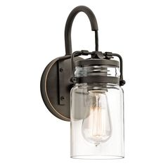 Kichler 45576 1-Bulb Wall Sconce from the Brinley Collection