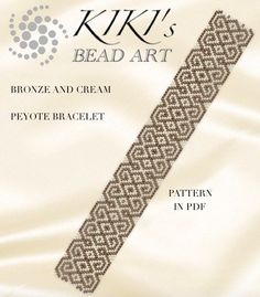 Peyote Pattern for bracelet Bronze and cream peyote bracelet