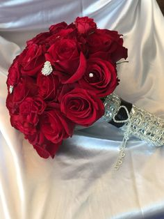 Red roses bouquet pearls and crystals bling