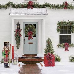 With burlap, ribbon, & berries, pre-made garland is ready to dress your doorstep with metal lanterns - outdoor holidays - find everything you need for holiday decorating at A. Cottage Christmas, Christmas Porch, Outdoor Christmas, Christmas 2019, Christmas Wreaths, Christmas Crafts, Xmas, Christmas Sleighs, Chicago Christmas