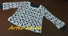 Blusa tamanho grande, confeccionada com squares de fio Anne.