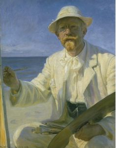 Many Danish painters manage to get so much whiteness and bright light into their works. particularly the artist impressionist colony in Skagen are exponents for this. Here's Michael Ancher in a self portrait. He was good, and so was his wife Anna Ancher, Tuxen, Drachmann and many others.