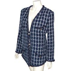 depot vente de luxe en ligne CHANEL veste PARIS DALLAS en tweed tissé bleu marine - On sale eshop luxe www.tendanceshopping.com