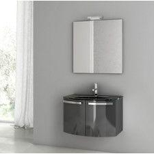 "Crystal Dance 27.6"" Single Bathroom Vanity Set with Mirror"