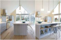 Необходимую кухонную утварь можно держать на открытых полках кухонного острова