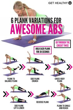 5 Plank Variations For Awesome Abs Get the most out of your plank by trying this plank workout! It includes six different plank exercises that will be sure to leave your belly tight and your back strong! Fitness Workouts, Lower Ab Workouts, Abs Workout Routines, At Home Workouts, Workout Tips, Gym Fitness, Physical Fitness, Bed Workout, Plank Workout
