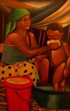 Mother bathing son by Patrice Piard. Caribbean Culture, Caribbean Art, African American Artwork, African Art, Haitian Art, African Paintings, Visual And Performing Arts, Black Love Art, Mini Canvas Art