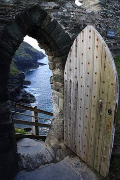 Tintagel ~ Cornwall ~ England, supposedly King Arthur's castle, now a very beautiful and atmospheric ruin x Old Doors, Windows And Doors, Cornwall England, North Cornwall, Yorkshire England, Cornwall Coast, Yorkshire Dales, North Wales, Unique Doors
