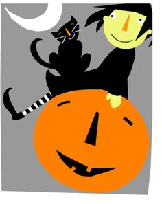 odd little witch sits atop her jack o lantern with her faithful black kitty !  blank inside, 5 x 7 - 4 cards with matching envelopes