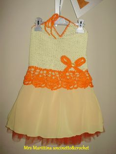 Abito bambina corpino ad uncinetto e gonna in chiffon e tulle - dress crochet with chiffon and tulle skirt.