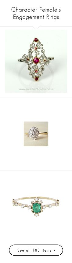 """""""Character Female's Engagement Rings"""" by thesassystewart on Polyvore featuring jewelry, rings, epoque jewelry, ruby jewellery, diamond jewelry, ruby jewelry, diamond rings, oval diamond ring, oval wedding rings and gold diamond rings"""