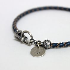 Dark Blue Leather Bracelet/ Sterling Silver Leather by rosajuri