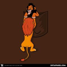 Lion King T-Shirt by Raffiti. Precipocket shows Mufasa trying to get into the pocket with Scar not helping.