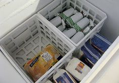 use crates to organize your chest freezer ~ I'm going to do this SOON!