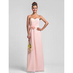 bainha / coluna querida chiffon vestido de dama de honra – BRL R$ 167,55
