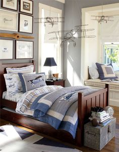 "Love this color for a boys room- Benjamin Moore ""Winter Gates""."