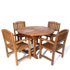 Knock Down Design ~ This Set Includes 1-TE70 Oval Extension Table + 4 TD20 Teak Dining Chairs ~  Cushion Available in 4 Colors