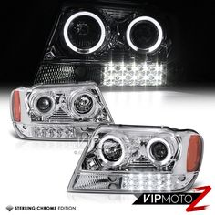 99-04 JEEP GRAND CHEROKEE WJ L+R HALO PROJECTOR CHROME HEADLIGHT LED BUMPER LAMP #VIPMOTOZ