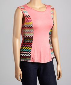 Look at this Coral Zigzag Cap-Sleeve Top - Plus on #zulily today!