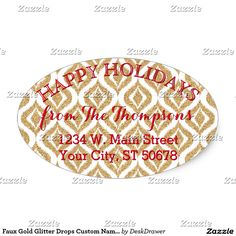 Faux Gold Glitter Drops Custom Name Address Label Oval Sticker. Unique, classic, trendy, pretty and decorative Holiday season address label. Beautiful contemporary faux shiny gold glitter sparkles and white Ikat Style drops pattern. With room to customize or personalize with your name and address.