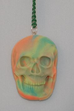 Glow In The Dark Skull Necklace  Polymer Clay  by PunkInPink