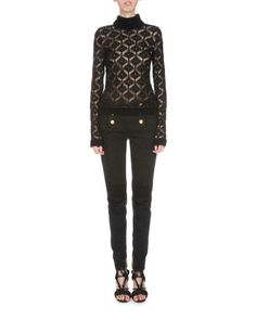 BALMAIN Six-Button Low-Rise Skinny Jeans, Black. #balmain #cloth #