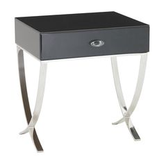 RV Astley Arlo Stainless Steel And Black Walnut Glass Side Table