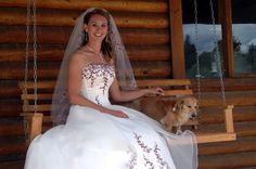 beautiful bride & her ring pup