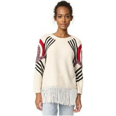 Moon River Fringe Sweater (£62) ❤ liked on Polyvore featuring tops, sweaters, natural, long sweaters, long pink sweater, fringe sweater, stripe sweaters and multi color striped sweater