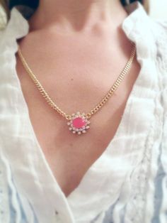 Vintage inspired hot pink and crystal pendant on gold curb chain // gift for her // funky jewelry // vintage necklace // glam necklace