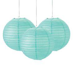 Possible Bridal Shower Decoration idea Mint Paper Lanterns - OrientalTrading.com