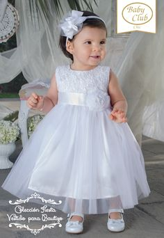 Vestido de Bautizo Dresses Kids Girl, Little Dresses, Cute Dresses, Kids Outfits, Flower Girl Dresses, Baby Girl Baptism, Baptism Dress, Christening Gowns, Kids Frocks