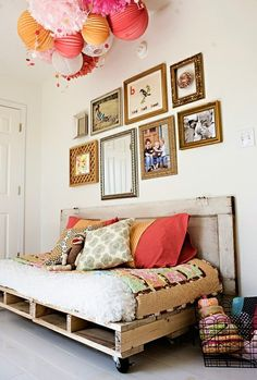 Pallets and white paint - throw in an old door