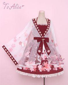 0361c7b28c Floral red pink kimono dress Lolita Fashion