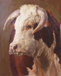 """""""Handsome"""" by Andre Pater (Polish-American, b. 1953), Oil on board, 15"""" x 13"""". Cross Gate Gallery."""
