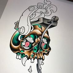 As far as I got on this piece tonight. Will be finishing it soon and it will be available to be tattooed!! - http://ift.tt/1HQJd81