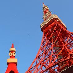 Tokyo tower & character. I made this character.  #love #peace #smile #rainbow #illustration #illustrator #makotoosanai #aloha #hawaii #music #art #drow #bluesky #sky #earth #tokyo #japan #character #object