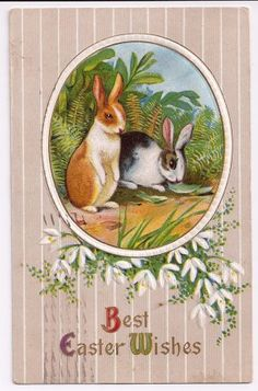 Early 1900s Easter Postcard with Bunny Rabbits @ Vintage Touch ~ SOLD