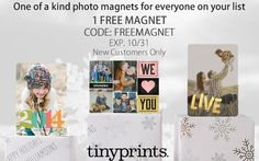 FREE Tiny Prints Personalized Photo Magnet | Get FREE Samples by Mail | Closet of Free Samples