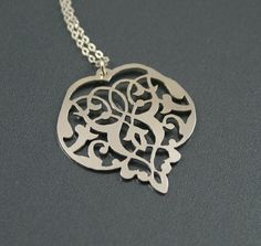 Floral Heart Sterling Silver Pendant Necklace