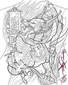 Japanese Warrior Tattoo, Japanese Tattoo Art, Japanese Tattoo Designs, Asian Dragon Tattoo, Japanese Dragon Tattoos, Drawing Stencils, Tattoo Stencils, Chinese Dragon Art, Tattoo Oriental